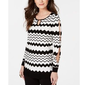 THALIA SODI Chevron Multi-Stripe Tunic Sweater
